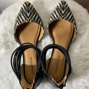Rampage Bronze Striped Flats with Ankle Strap